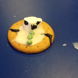 melting snowman biscuit